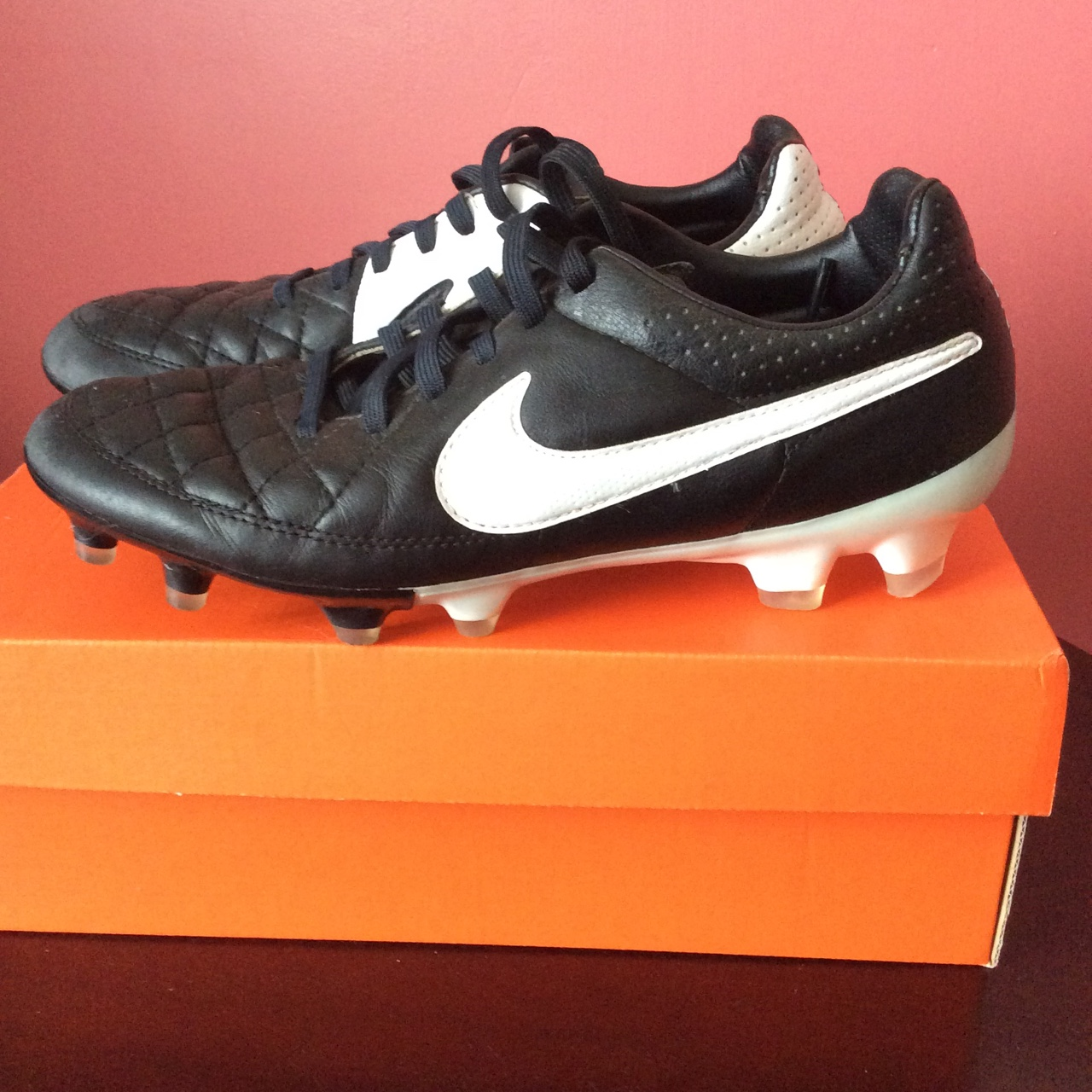 best cheap 4b3bd 58427 Black & White Nike Tiempo football boots for sale ⚽️... - Depop