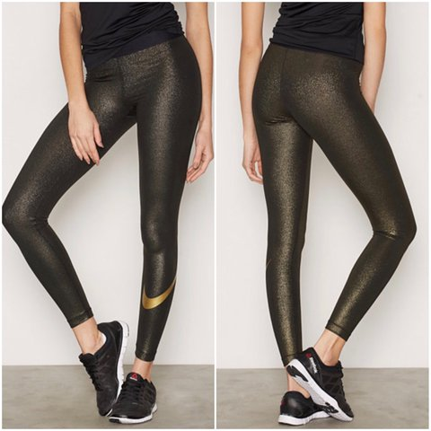 8476dd1d8bd4d @blush_boutique. 2 years ago. Pflugerville, United States. Nike metallic  gold training tights ...