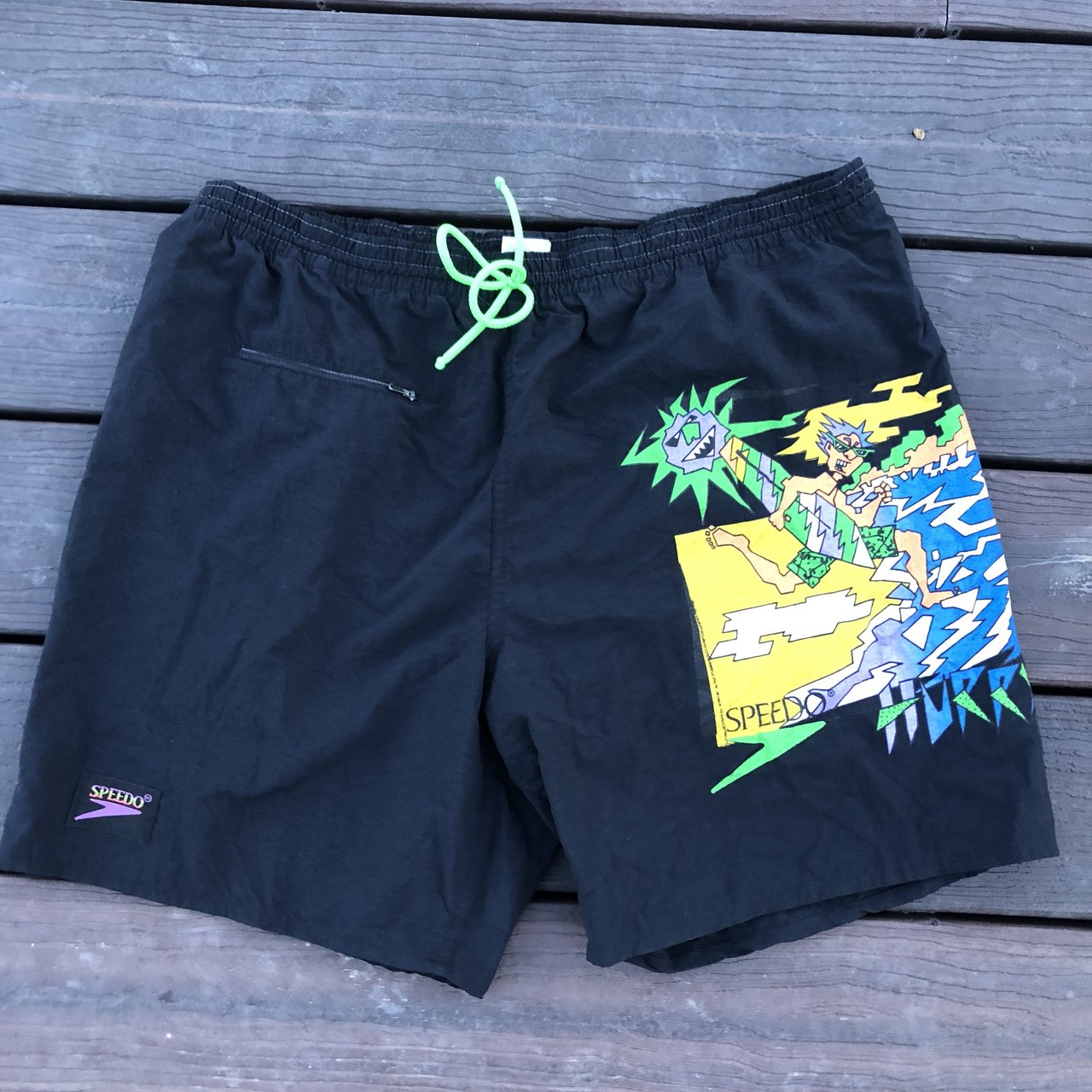 "9fd925ac24 Vintage 90s Speedo Swimming trunks Size XL 40"" Has one No - Depop"
