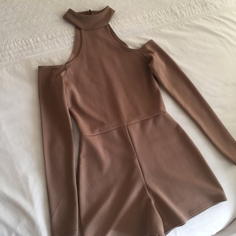ff289aa79b Boohoo beige playsuit with open back slit -size 8 -only worn - Depop