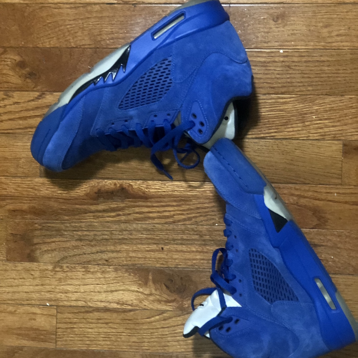 detailed look d60f0 f58f4 Retro Jordan 5s blue suede. Condition as shown in... - Depop