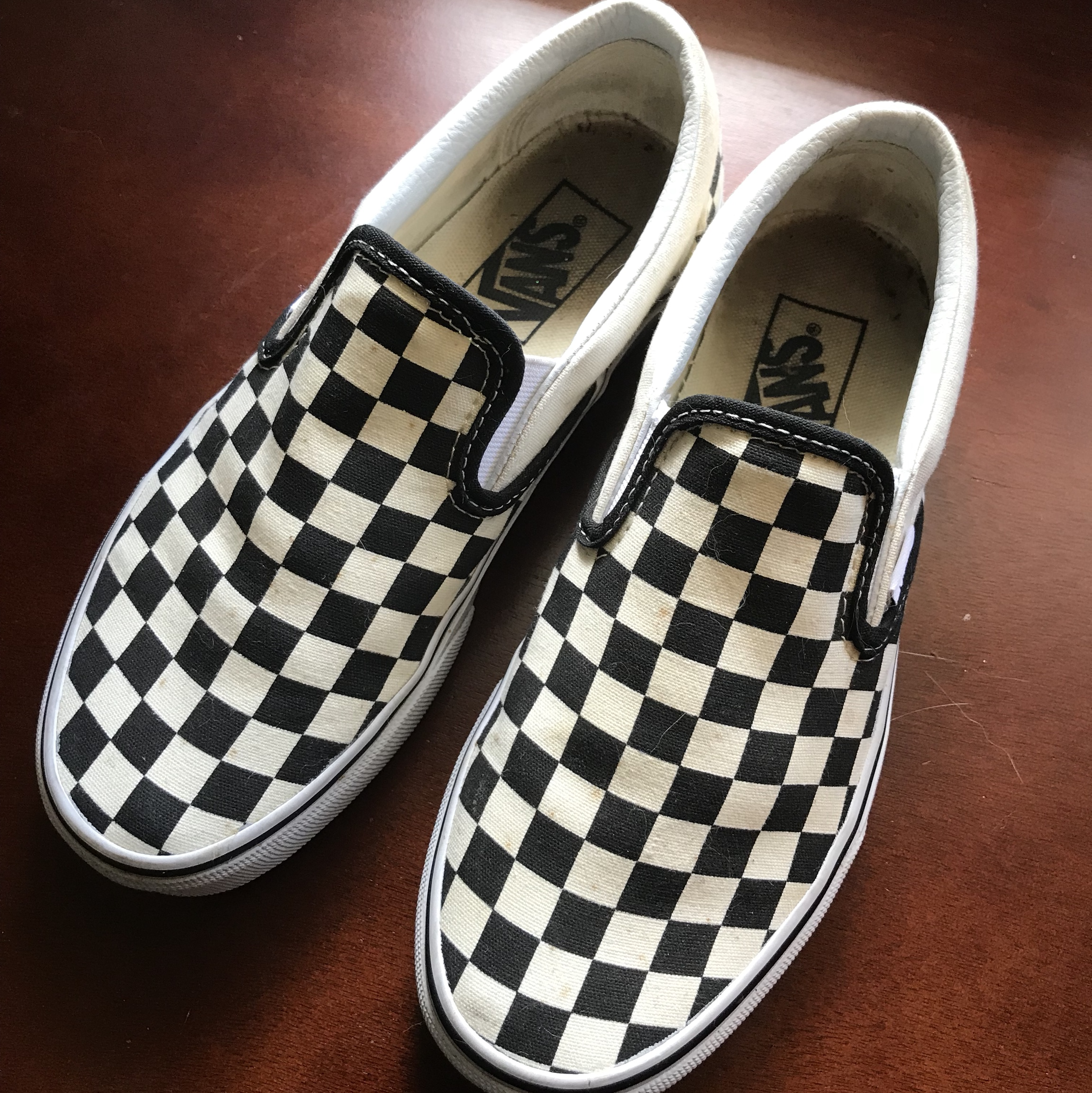 0ad7acf4f44 checkered slip-on vans. size 6.5 womens 5 mens. has some my - Depop