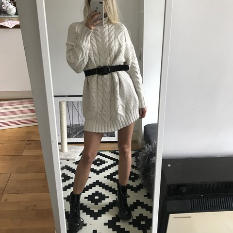 977c3f5625f Zara long sweater jumper in cream Cable knit dress Current - Depop