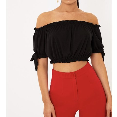 02f92ba45be73 Prettylittlething Black Bardot bow sleeve crop top