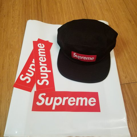 d47e7fe3470 Supreme Box Logo Hat in black with adjustable leather Chino - Depop