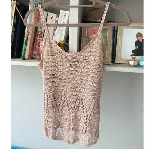 387fbc1767d267 Nude   griege  crochet vest Cami top. Slightly loose fit to - Depop