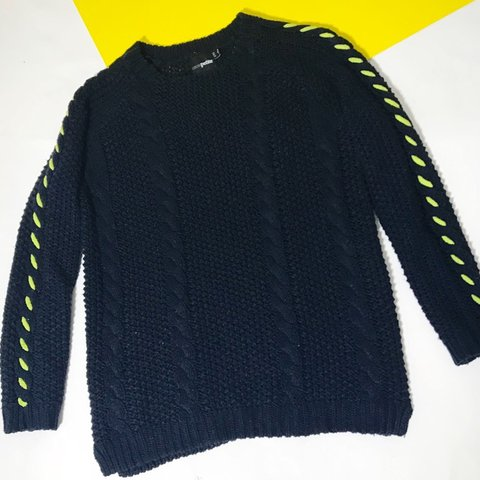 25e29a074d Chunky navy cable knit jumper with Neon yellow jumbo stitch - Depop