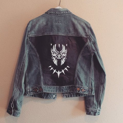 Black Panther Upcycled Denim Jacket From The Gap Size Is Wo Depop