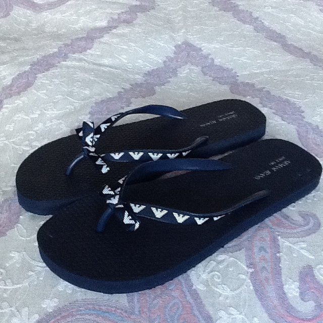ac2f93806 Armani Jeans Women s Flip Flops. Size 9-10 stated on the in - Depop