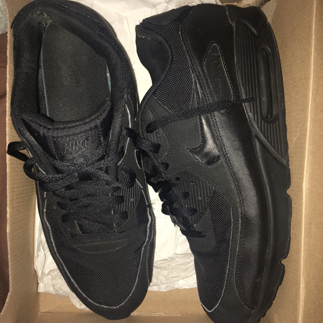 98dd38bf9b4450 Nike AirMax 90 Triple Black Size 11 Good condition  airmax - Depop