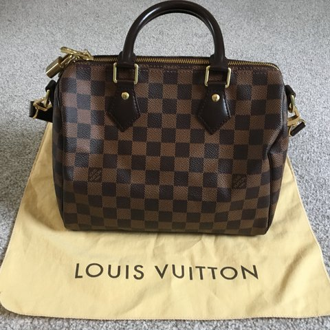 da492d6b0c03 GENUINE Louis Vuitton speedy 25 bandouliere damier ebene! in - Depop