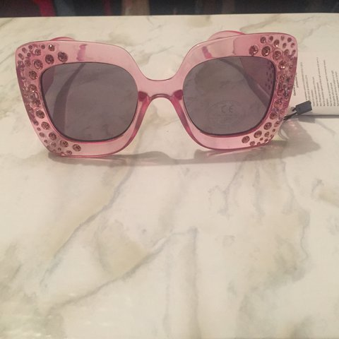 fa12ecbe347 Asos Pink Bedazzled Sunglasses NEVER WORN  sunglasses  pink - Depop