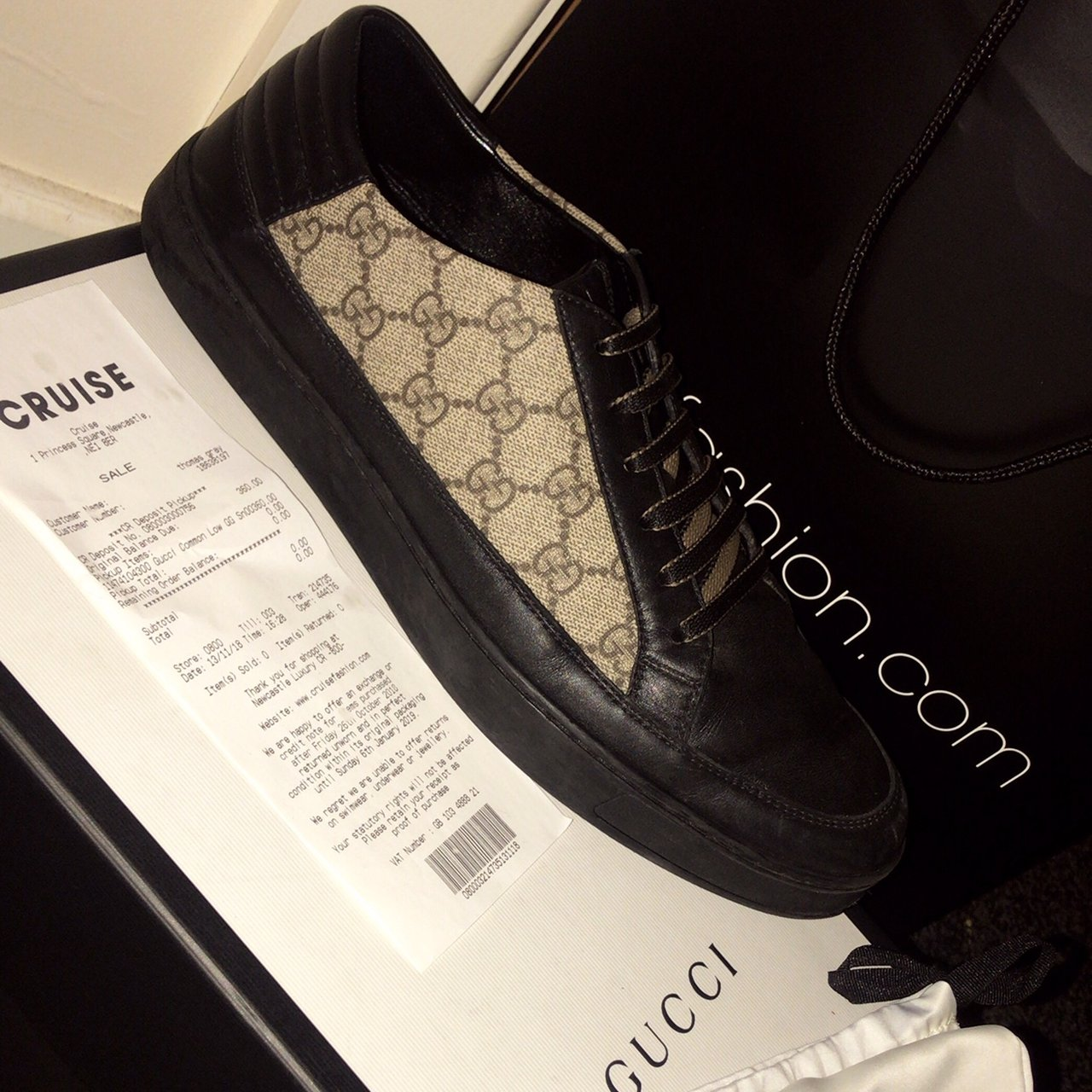 2a0f1b0e54d2 Selling these size 10 men's Gucci common GG supreme leather - Depop