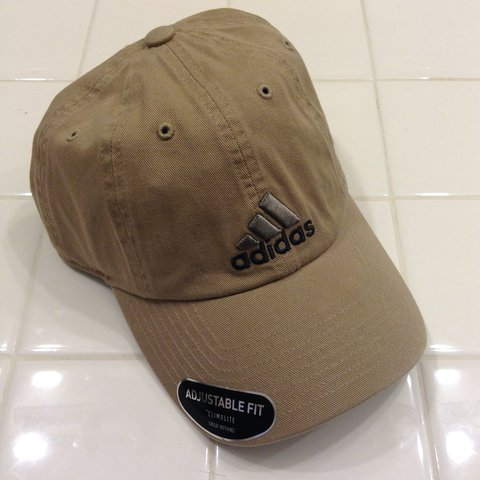 862c372aebc BRAND NEW brown khaki Adidas logo dad hat  NWT. khaki so it - Depop