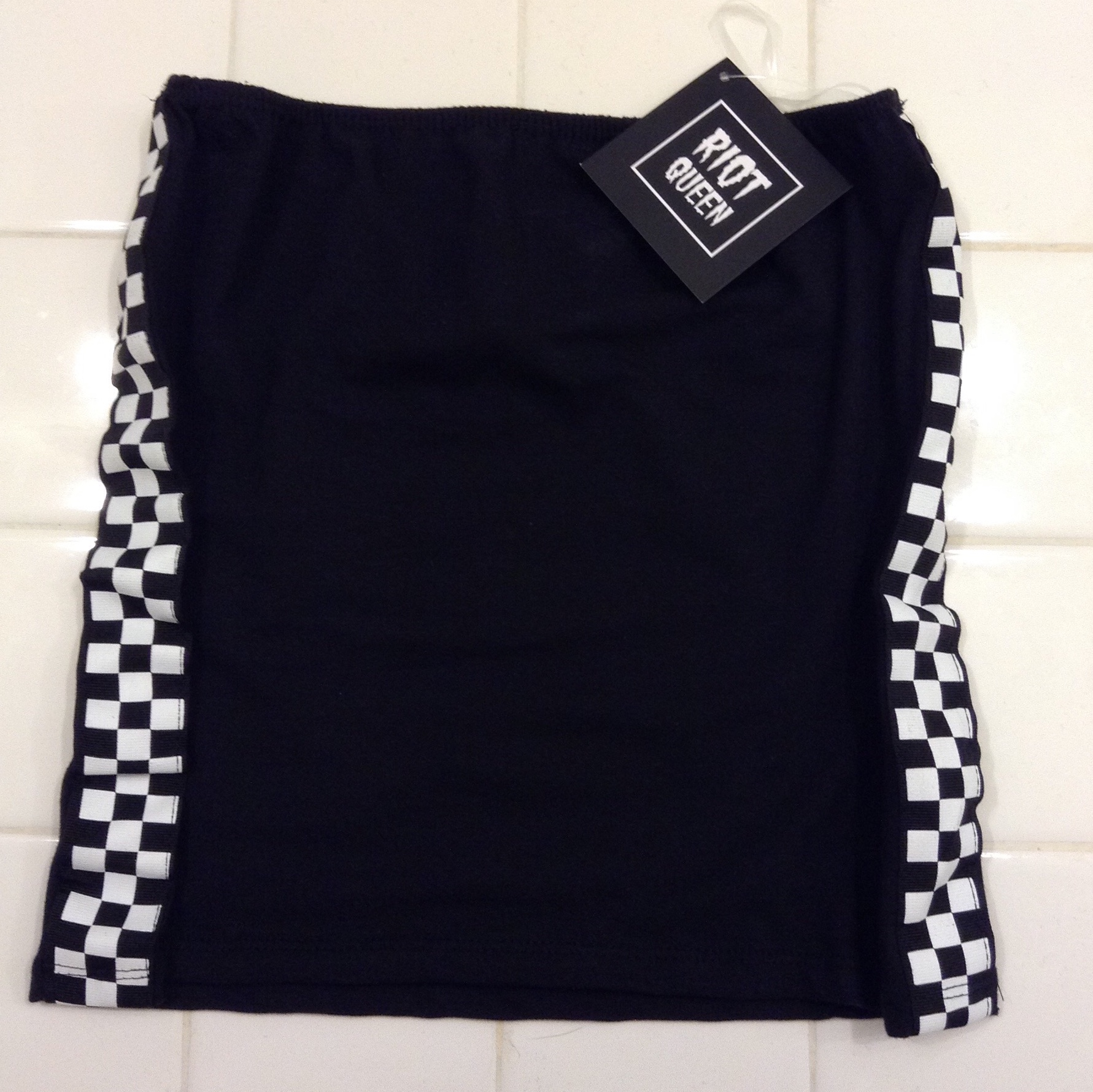 3514f7fd68 BRAND NEW black white checkered tube top  NWT. very perfect - Depop