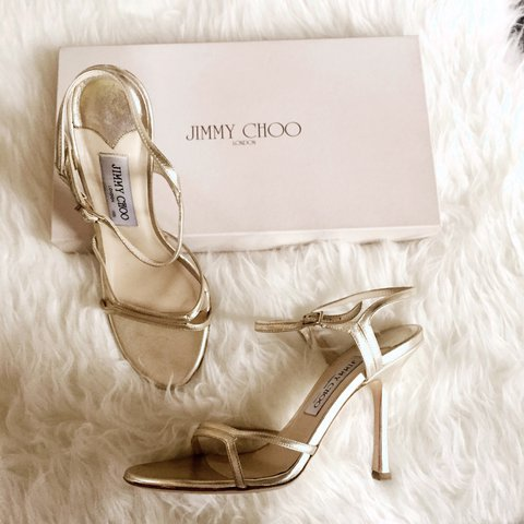 5796fe9fb315 Jimmy Choo  platinum  sandals  leather Selling at 1 5 of x - Depop