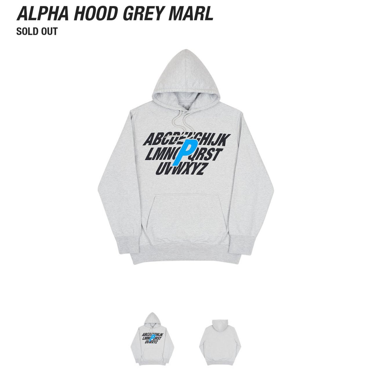 706654a1d481 Palace alpha grey hoodie in small