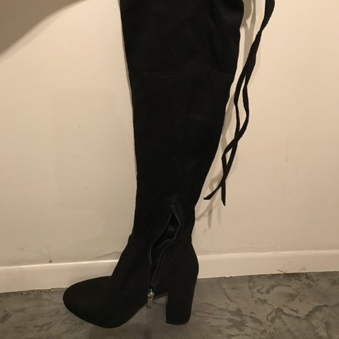 765e69bfe77 Black suede thigh high boots with 2-3 in heel. They tie in I - Depop