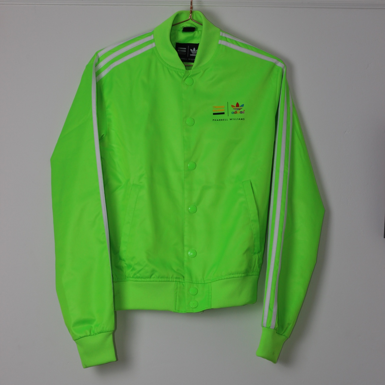 ADIDAS PHARRELL SATAN TRACK JACKET GREEN Worn 8