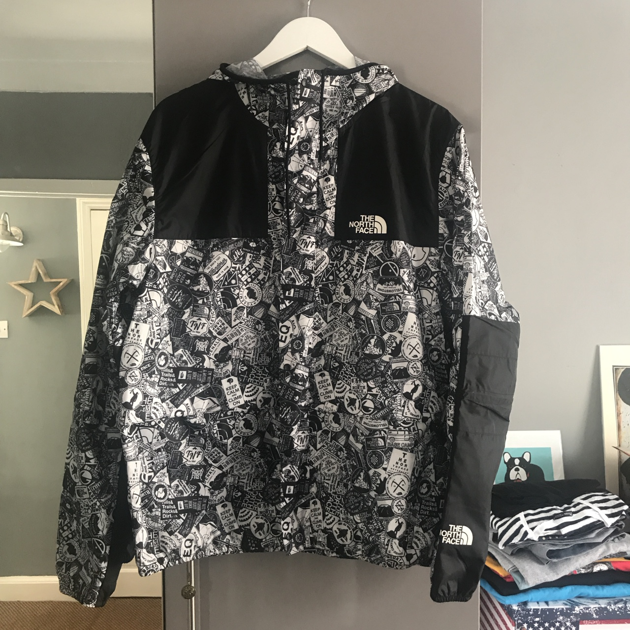 72f51eeca The North Face 1985 Mountain Fly Sticker Jacket in... - Depop