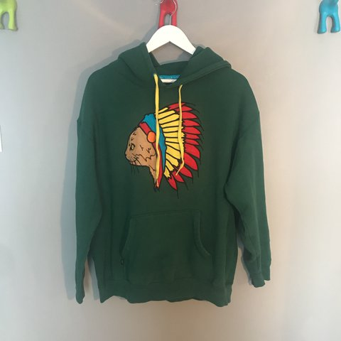 e62c3e50005a60 Native Cat Hoodie Style  Forest Green Size  XL Used but - Depop