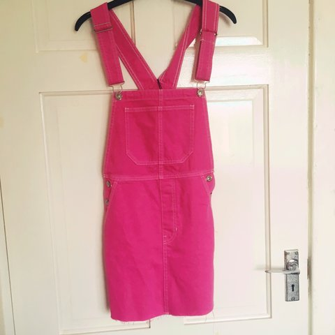 7a23dde780 BRAND NEW WITH TAGS!! Hot pink denim dungarees   pinafore + - Depop