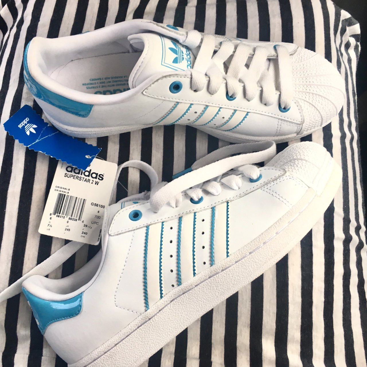 59c861241dba NWT Perfect Condition Rare Baby Blue Adidas Superstars Stan - Depop