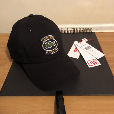 Supreme x Lacoste black twill 6-panel cap In good BEFORE ask - Depop b0605febd5b