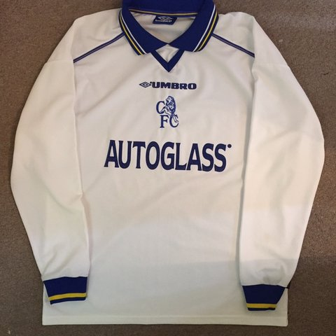 31af4ca526 @6eorge. 2 months ago. Hyde, United Kingdom. vintage chelsea umbro  longsleeve away kit shirt size large. with sick autoglass sponsor