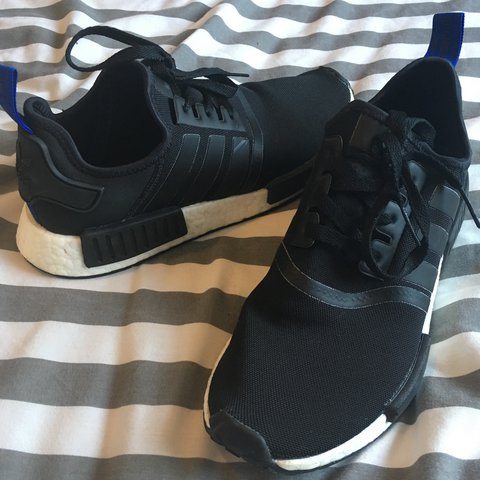 fdcfc8548e5a Adidas NMD Boost R1 - Core Black Blue Tab Supreme only worn - Depop