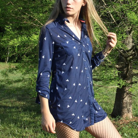 05b352043a6 Navy button-up shirt dress with white hummingbird print!! So - Depop