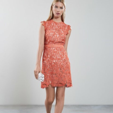 adc64f193e REISS Maika Coral Orange Lace dress! Perfect for weddings
