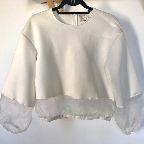 0c5838cce21f36 Cream neoprene long sleeve top with white sheer organza from - Depop