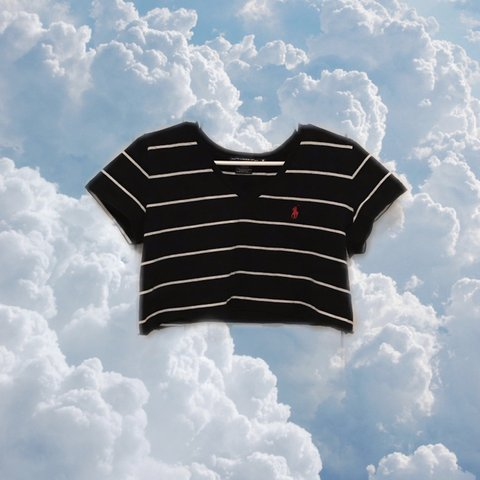 f87af0be745 @carlycr20. 13 days ago. Branford, United States. Polo Ralph Lauren Cropped  black and white striped t-shirt!