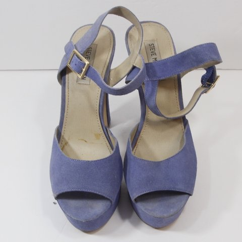 3b8aa868dad DISCO STYLE MICROSUEDE STEVE MADDEN PERIWINKLE BLUE CHUNKY a - Depop