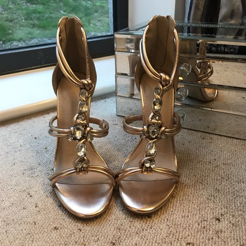 6a297813d3cd Gold jewelled heels from ASOS. ONLY WORN ONCE. Great all 5. - Depop