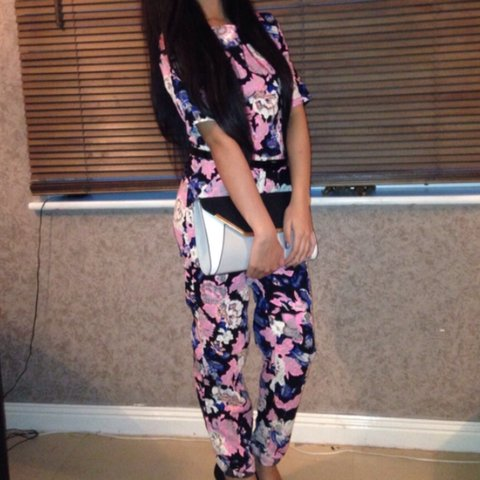 6fed0c533c9 Beautiful missguided floral jumpsuit in size 8! Worn once a - Depop