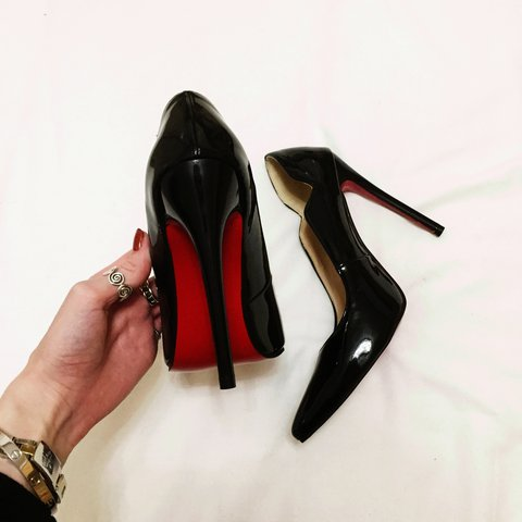 54801b4fb0b Brand new black patent red sole stiletto heels in size 6. as - Depop