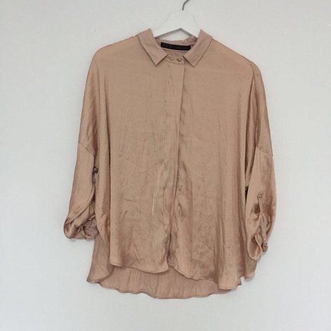 7c141cbb5d7b46 Zara nude satin shirt/blouse. Relaxed fit and baggy. Would - Depop