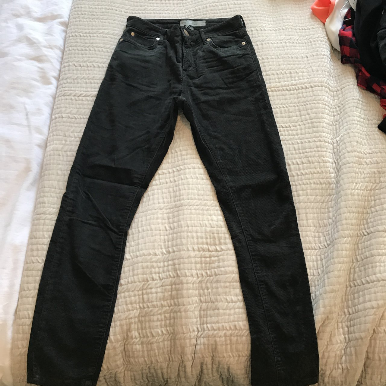 special section info for best prices Topshop JAMIE thin cord jeans. In washed black. Worn once - Depop