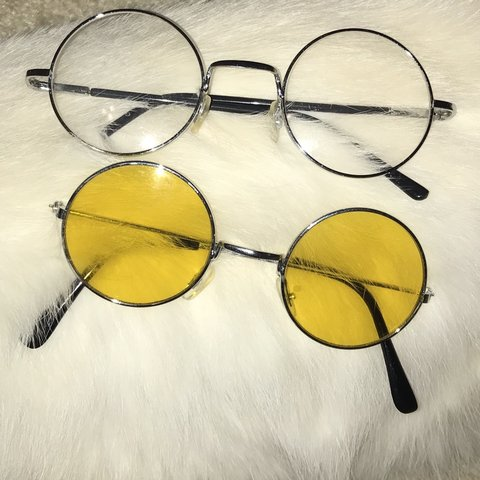 aac84092756b3 yellow   clear lens circle glasses bundle 👓 💛 price   cute - Depop