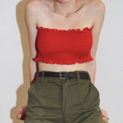 e65235cbb40 brandy melville kessy tube top red.tiny whole in corner - Depop