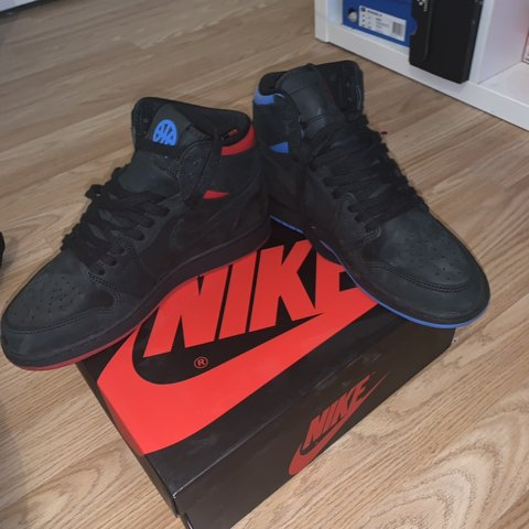 d8508783515d01 Nike Jordan dunks Black red and blue suede Size from - Depop