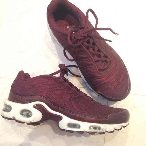 newest 150c5 49c52 Nike tns tuned 1 maroon burgundy satin trainers size... - Depop