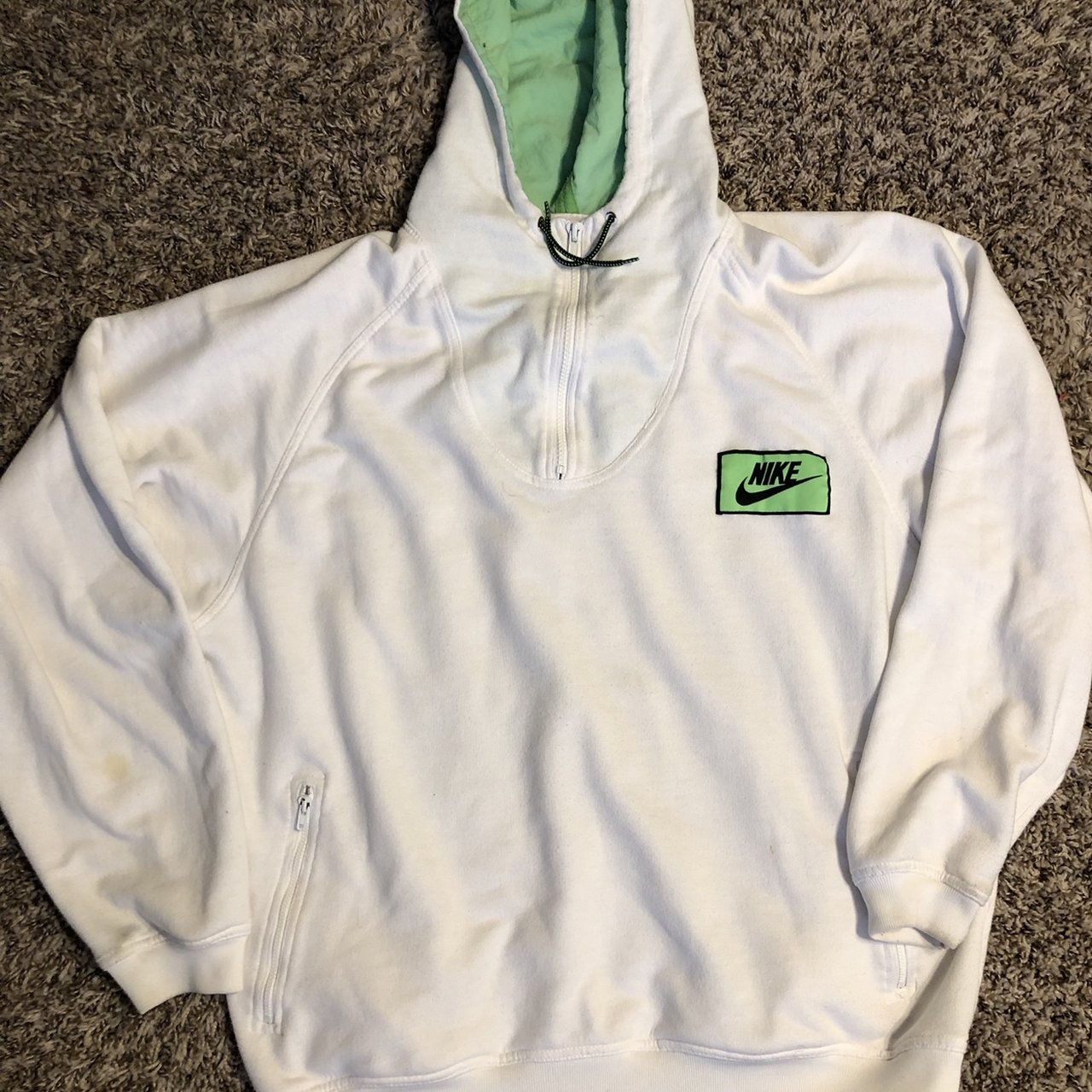 d8e8f1d81a35 Vintage 90 s Nike Hoodie White   Green RARE Medium large but - Depop