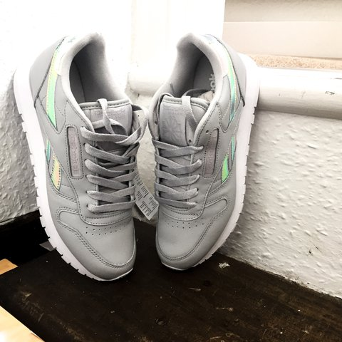 4ac5e4dc4a8ae Iridescent REEBOK CLASSICS trainers in grey with white sole• - Depop