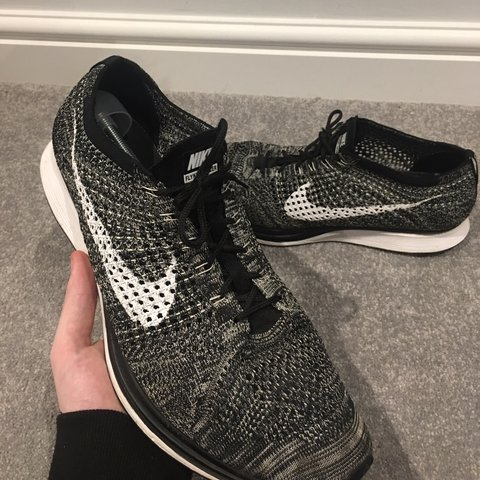 c693199d73468 Nike flyknit racer Oreo - Size uk12 - Condition 8 10 - Great - Depop