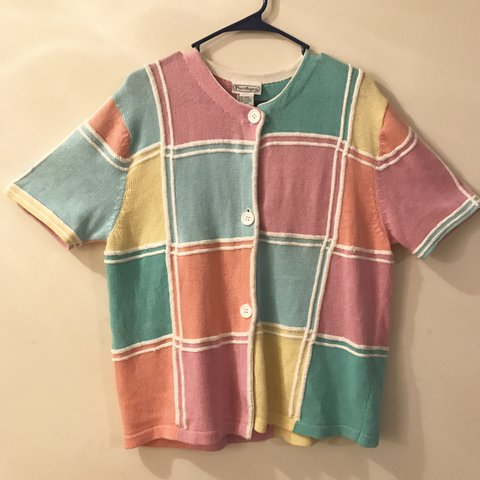 bcf0aa61ca Vintage pastel colorblock short sleeve cardigan. Tag says a - Depop