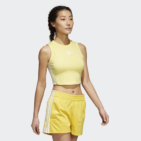 36592c36c2280 Adidas cropped yellow tank top! Super cute and brand new - Depop