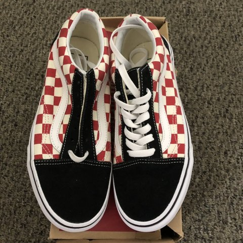 68aab7e2030da9 Red and white black checkered old skool vans! Not sold and - Depop